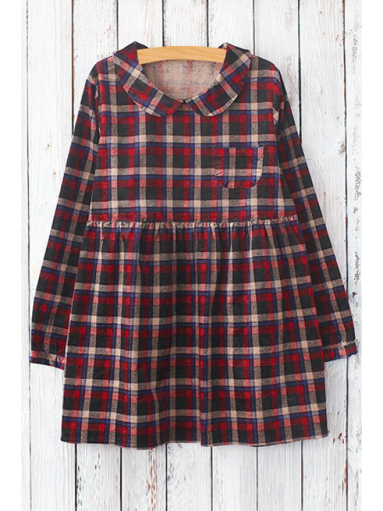 shop Plaid Peter Pan Collar Long Sleeve Dress - RED ONE SIZE(FIT SIZE XS TO M)