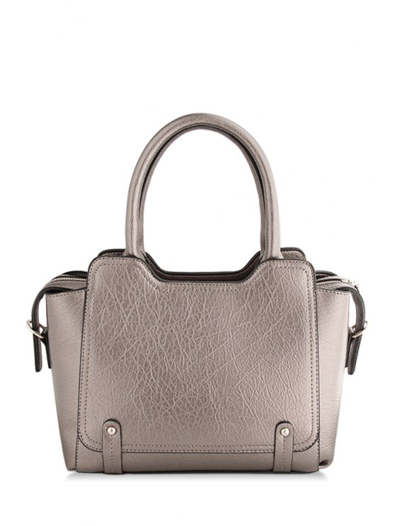 sale Solid Color Embossing Stitching Tote Bag - BRONZE-COLORED