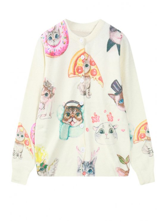 outfit Long Sleeve Kitten Pattern Cardigan - OFF-WHITE ONE SIZE(FIT SIZE XS TO M)
