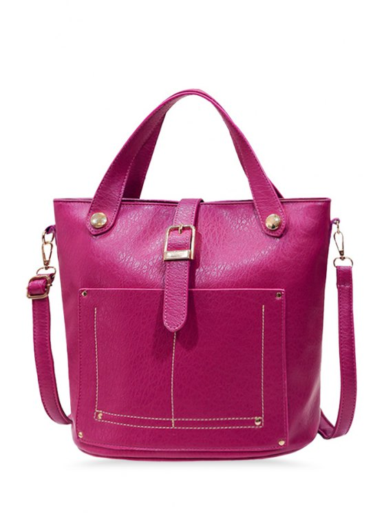 lady Stitching Metal Buckle Tote Bag - ROSE