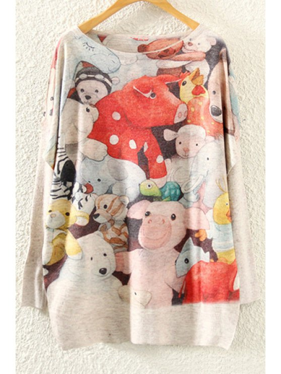 shop Cartoon Toy Print Long Sleeve Jumper - BEIGE ONE SIZE(FIT SIZE XS TO M)