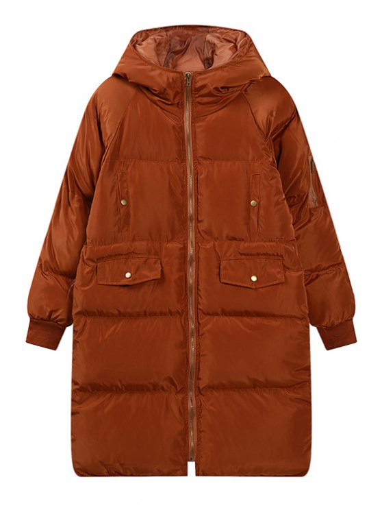 fashion Hooded Zip Up Quilted Coat - KHAKI ONE SIZE(FIT SIZE XS TO M)