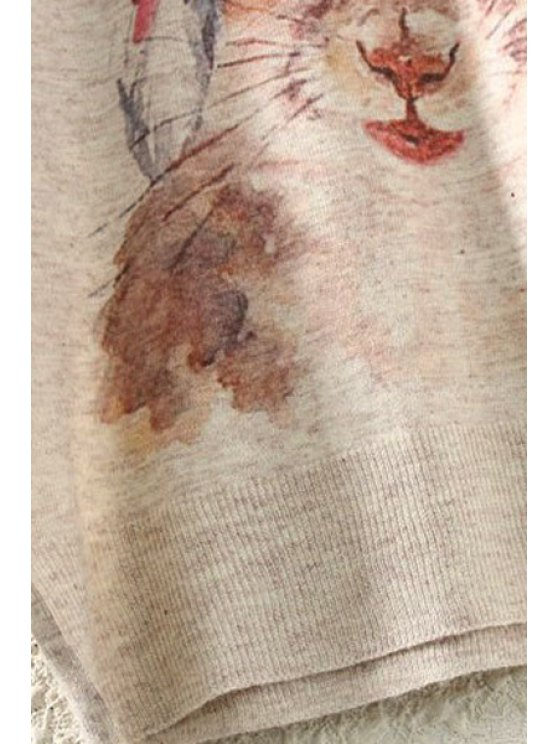 Squirrel Print Long Sleeve Jumper - BEIGE ONE SIZE(FIT SIZE XS TO M) Mobile