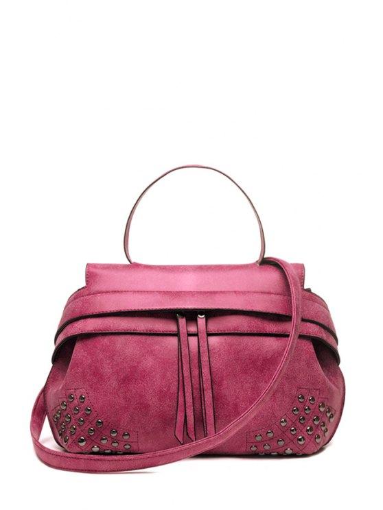 hot Rivet Stitching Solid Color Tote Bag - ROSE