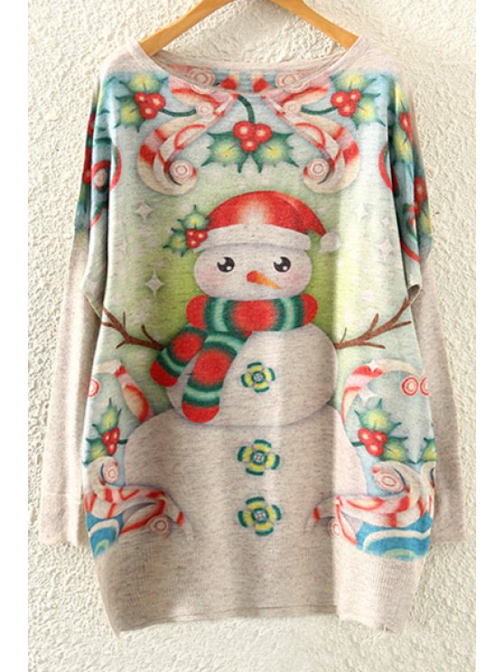 trendy Snowman Print Long Sleeve Jumper - BEIGE ONE SIZE(FIT SIZE XS TO M)