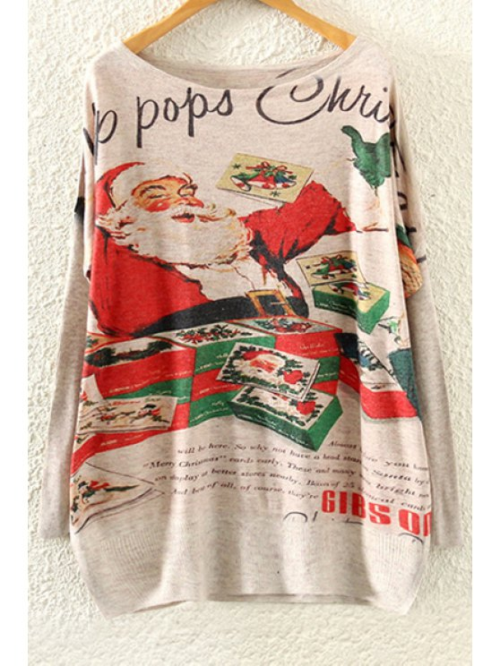 chic Father Christmas Print Long Sleeve Jumper - BEIGE ONE SIZE(FIT SIZE XS TO M)