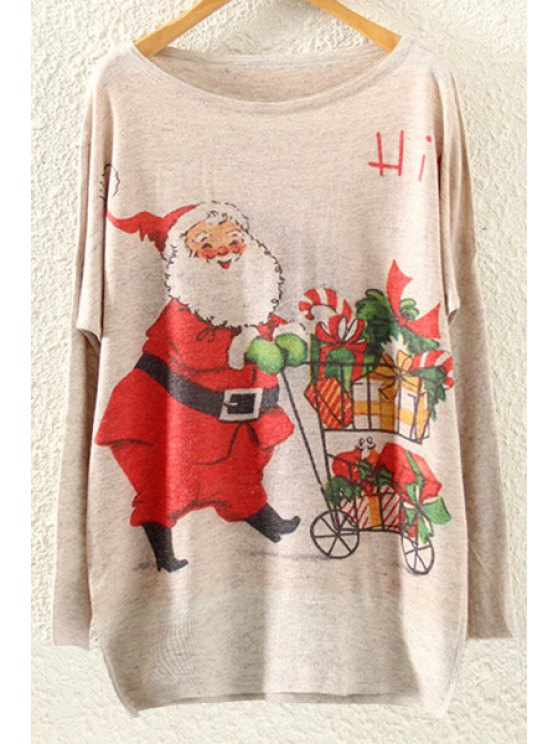 fancy Father Christmas Print Long Sleeves Jumper - BEIGE ONE SIZE(FIT SIZE XS TO M)