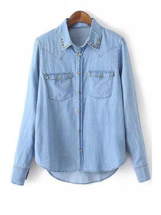 women Long Sleeve Metal Button Denim Shirt - BLUE S