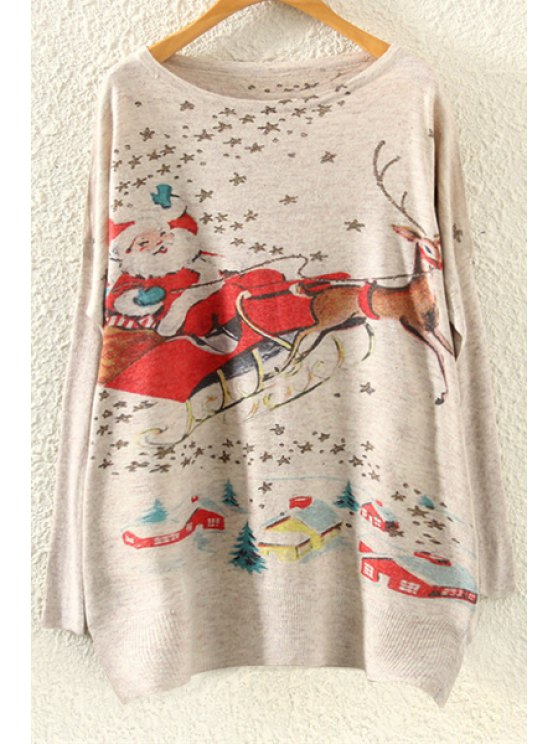 unique Christmas Deer Oversized Jumper - BEIGE ONE SIZE(FIT SIZE XS TO M)
