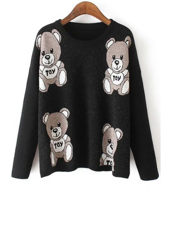 shop Round Neck Bear Pattern Sweater - BLACK ONE SIZE(FIT SIZE XS TO M)
