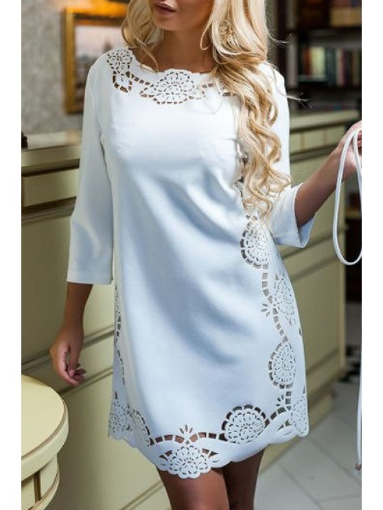 latest Solid Color Openwork Round Collar T-Shirt Dress - WHITE S