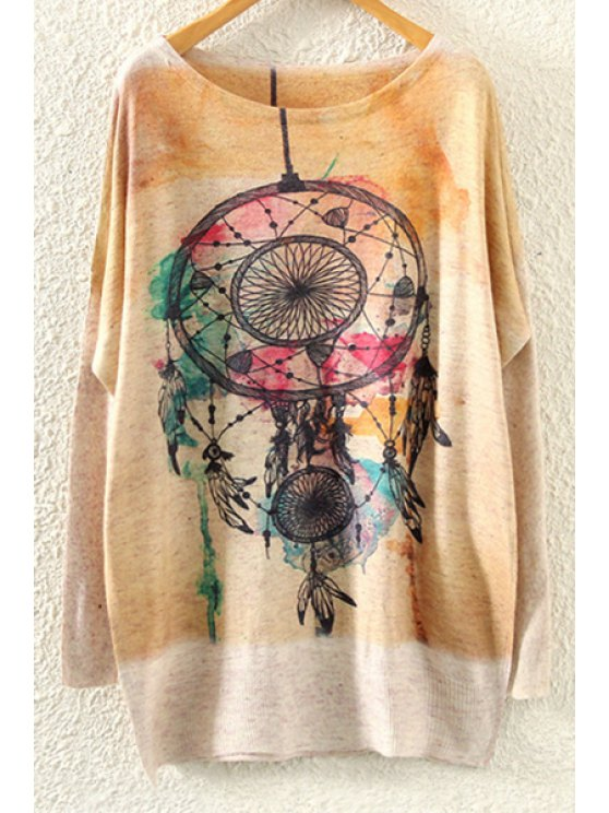 women Long Sleeve Abstract Print Jumper - BEIGE ONE SIZE(FIT SIZE XS TO M)
