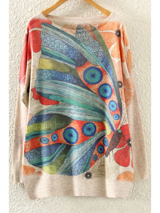 ladies Butterfly Print Long Sleeves Jumper - BEIGE ONE SIZE(FIT SIZE XS TO M)