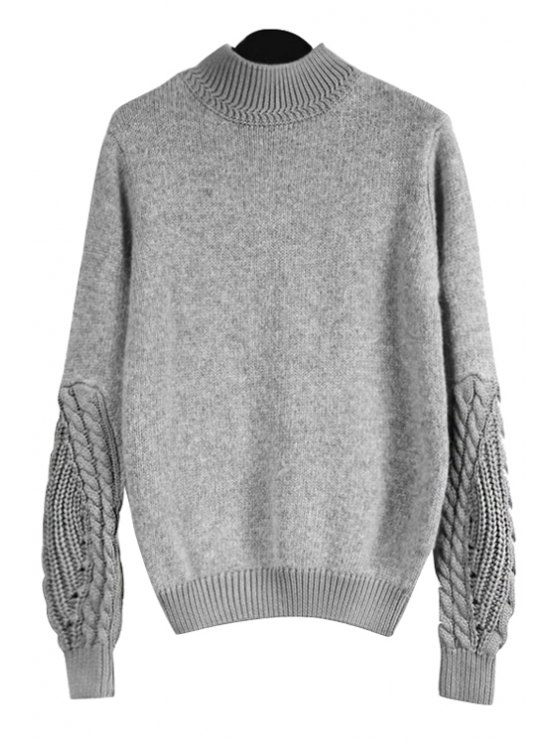lady Gray Stand Neck Long Sleeve Jumper - GRAY ONE SIZE(FIT SIZE XS TO M)
