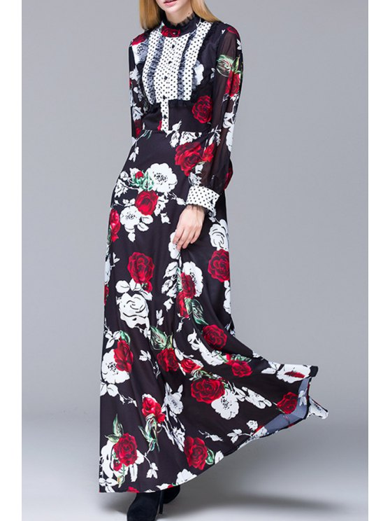 shop Rose Print Long Puff Sleeves Maxi Dress - BLACK S