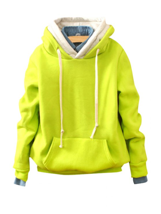 ladies Front Pocket Long Sleeve Pullover Hoodie - YELLOW ONE SIZE(FIT SIZE XS TO M)