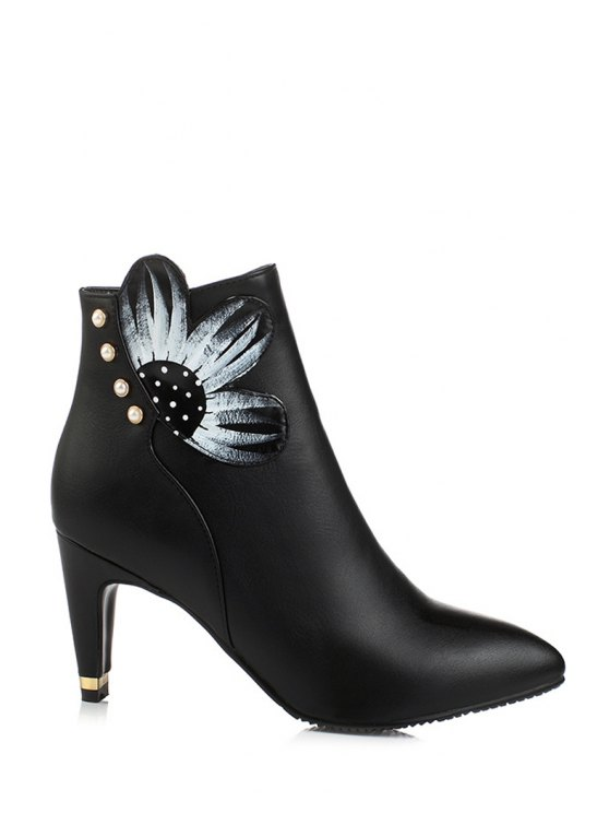 shops Flower Print Bead Pointed Toe Ankle Boots - BLACK 38