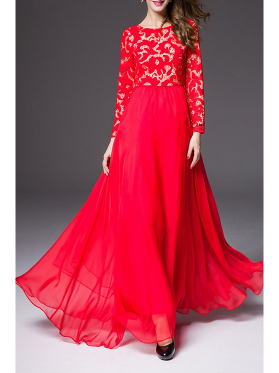 fashion Solid Color Openwork Lace Hook Spliced Maxi Dress - RED S