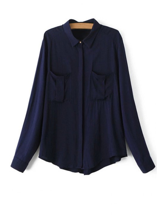 lady Long Sleeve Solid Color Shirt - PURPLISH BLUE S