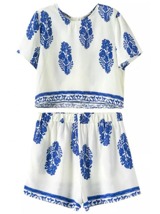 latest Short Sleeve Printed Crop Top + Shorts Twinset - WHITE S