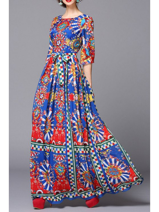 best Geometric Abstract Print Half Sleeves Voile Maxi Dress - COLORMIX S