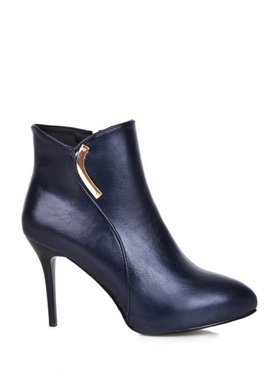 latest Metal Pointed Toe High Heel Boots - BLUE 34