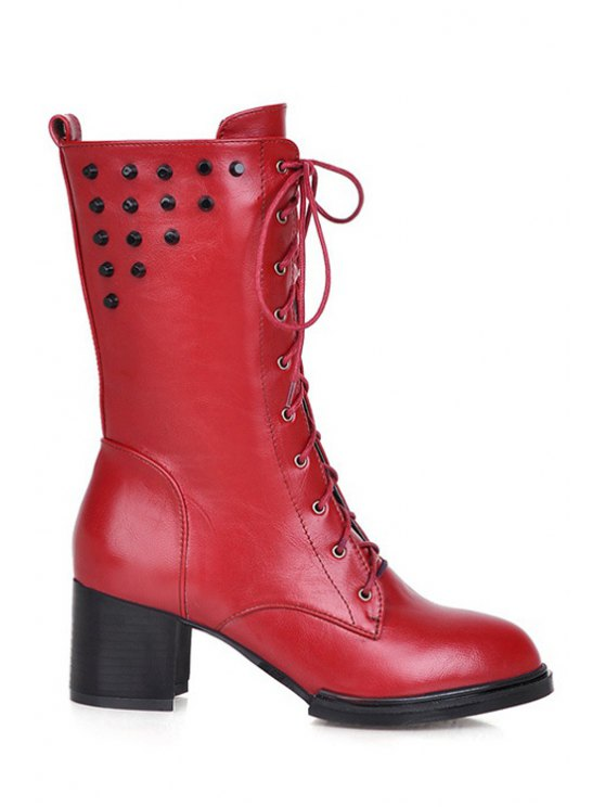 hot Rivet Solid Color Lace-Up Mid-Calf Boots - RED 34