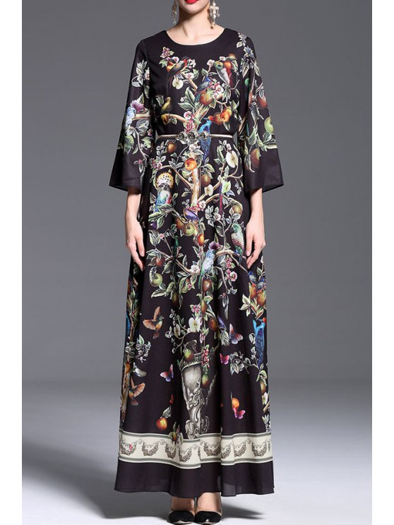 fancy Printed Belted Round Collar 3/4 Sleeves Maxi Dress - BLACK S