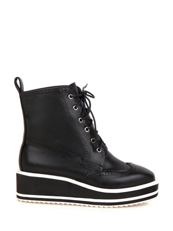 lady Engraving Lace-Up Platform Short Boots - BLACK 34