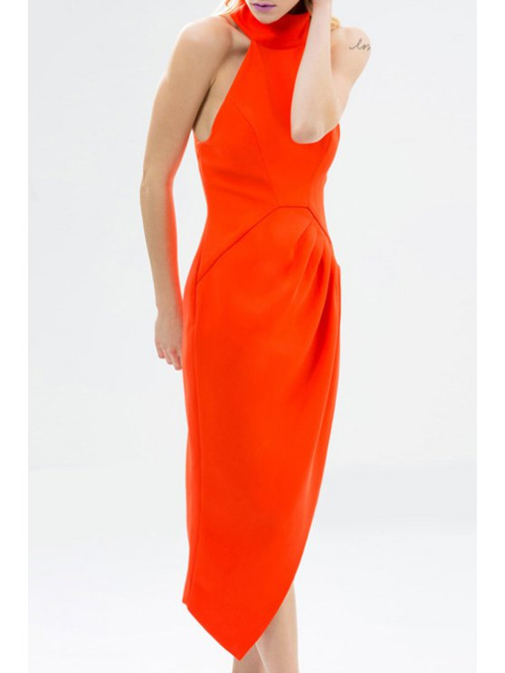 best Solid Color Asymmetric Stand Collar Sleeveless Dress - RED XS