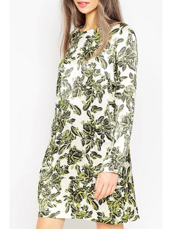 fancy Floral Print Round Collar Long Sleeves Mini Dress - GREEN XS
