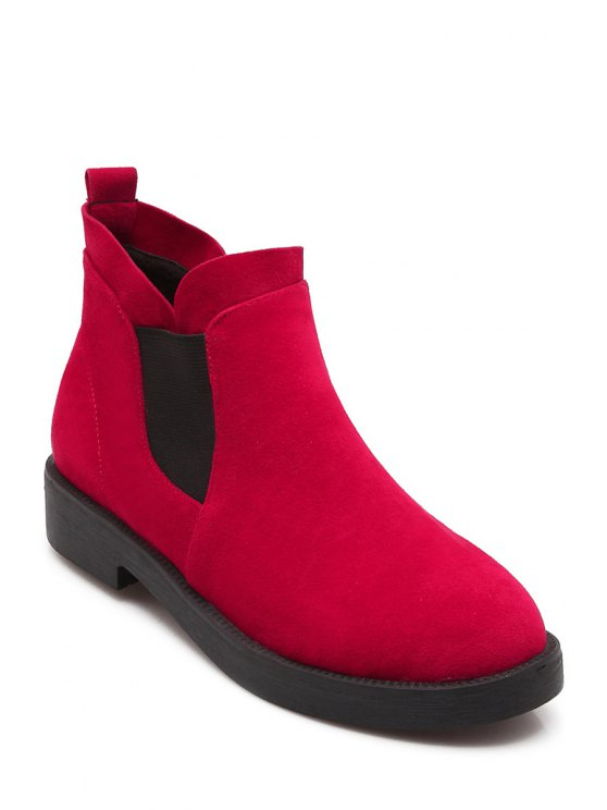 buy Suede Elastic Slip-On Ankle Boots - RED 34