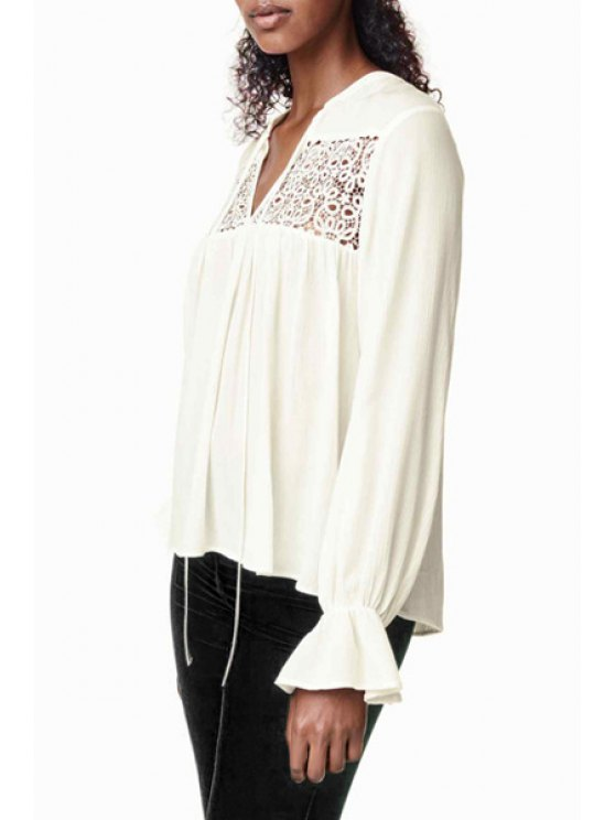 outfits Lace Spliced V-Neck Butterfly Sleeves Blouse - WHITE XS