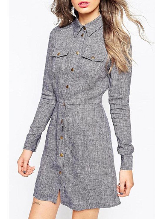 shop Solid Color Buttons Flat Neck Long Sleeves Shirt Dress - GRAY XS