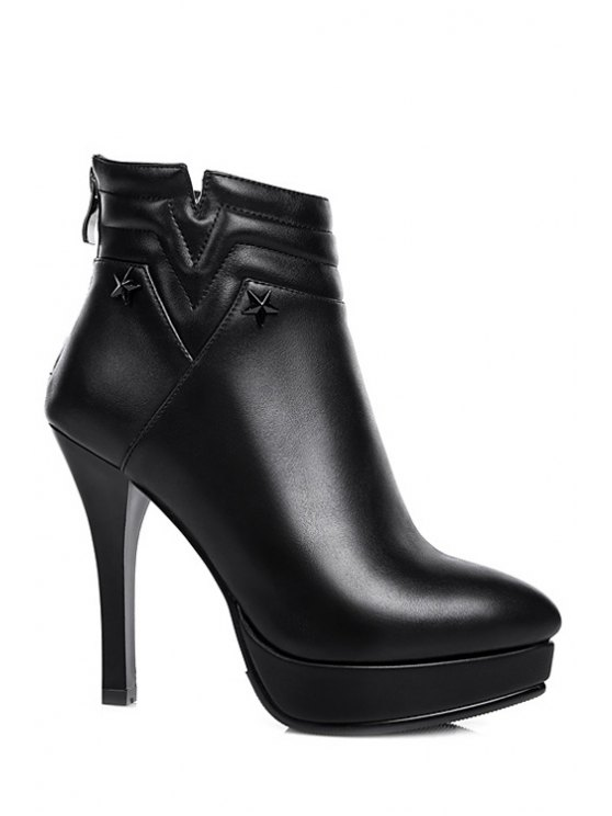 fancy Black Platform Stiletto Heel Ankle Boots - BLACK 34