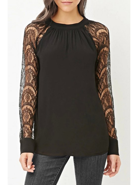 online Openwork Lace Hook Spliced Round Collar Blouse - BLACK XS