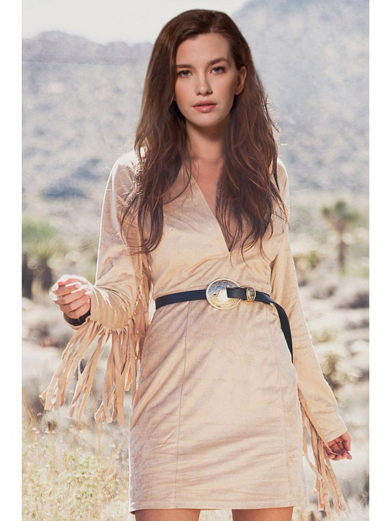 women's Solid Color Tassels Plunging Neck Long Sleeves Dress - LIGHT KHAKI S