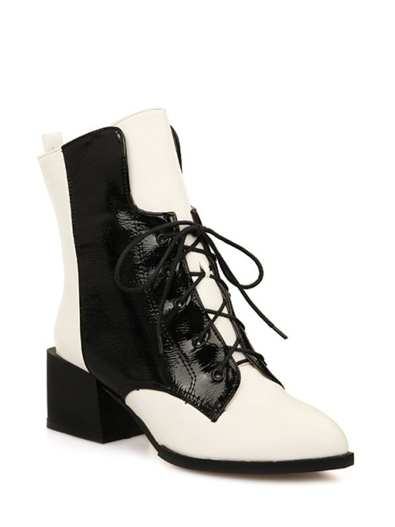best Colour Block Chunky Heel Short Boots - WHITE 34