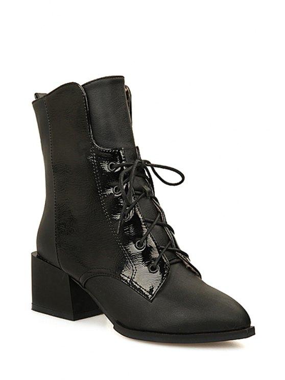 shop Black Chunky Heel Lace-Up Short Boots - BLACK 34