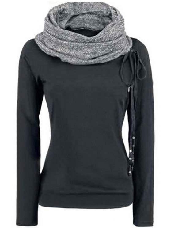unique Heaps Collar Lace-Up Sweatshirt - BLACK S