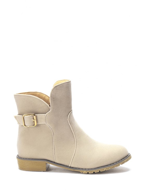 best Suede Solid Color Flat Heel Short Boots - OFF-WHITE 34