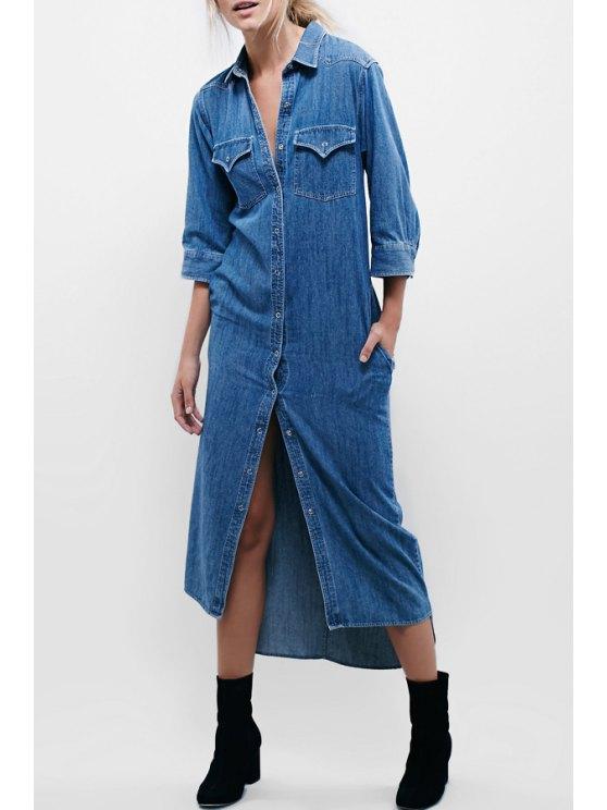 chic Pocket Design Single-Breasted Denim Dress - BLUE S