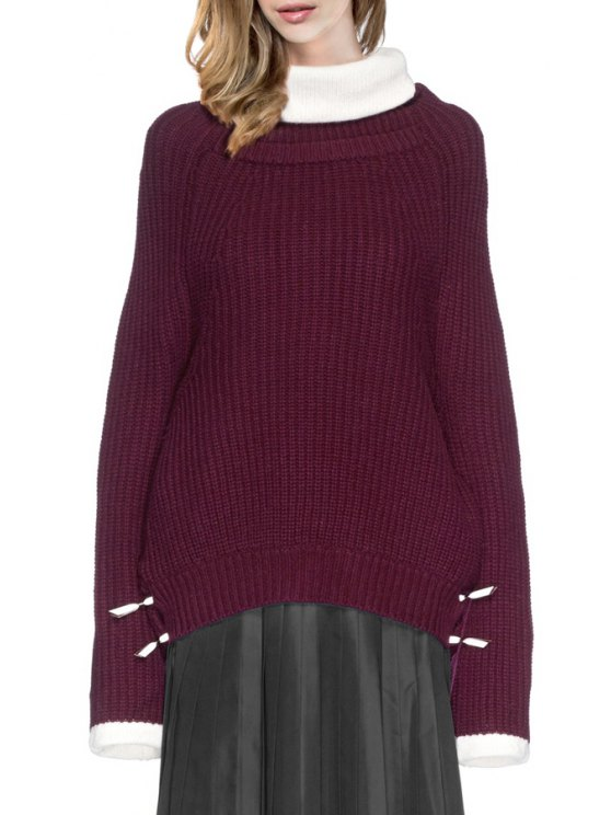fashion Turtle Neck Wide Sleeve Oversized Sweater - WINE RED ONE SIZE(FIT SIZE XS TO M)