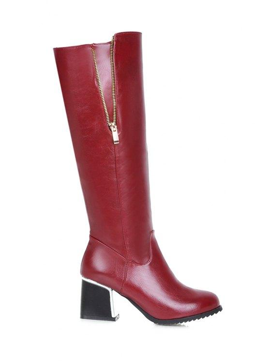 new Zipper Chunky Heel Mid-Calf Boots - WINE RED 34