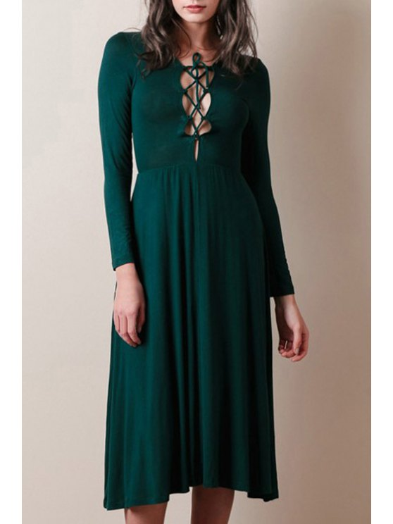 trendy Lace-Up Solid Color Long Sleeves Dress - GREEN S