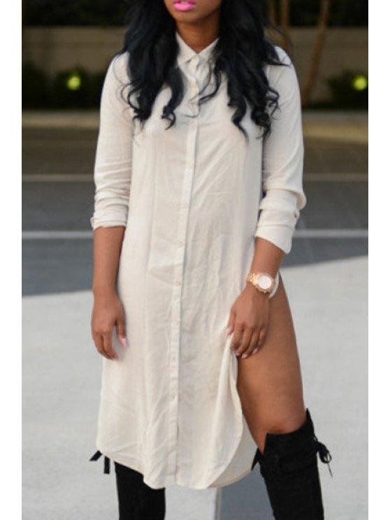 shops High Slit Long Sleeve Shirt Dress - WHITE S