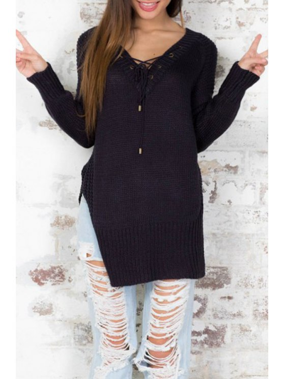 outfit Black V Neck Long Sleeve Jumper - BLACK ONE SIZE(FIT SIZE XS TO M)