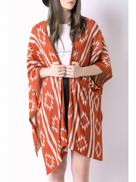 shop Geometric Print Knitted Loose Fitting Cape Cardigan - JACINTH ONE SIZE(FIT SIZE XS TO M)