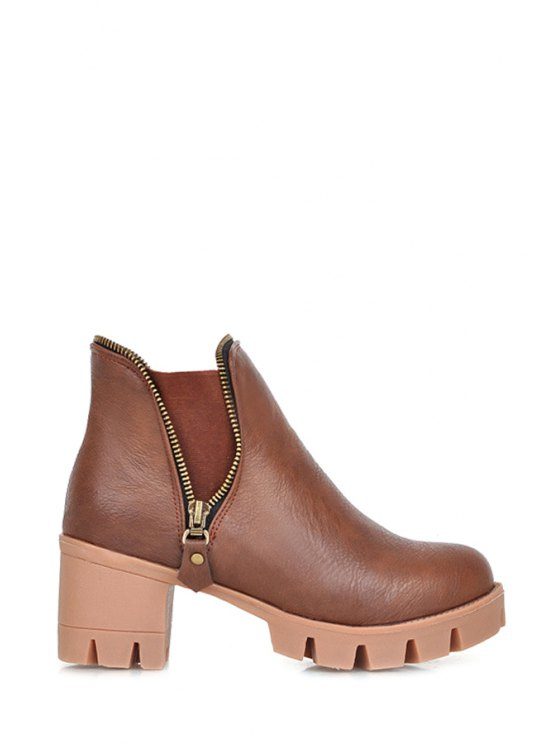 lady Chunky Heel Platform Zipper Ankle Boots - BROWN 35
