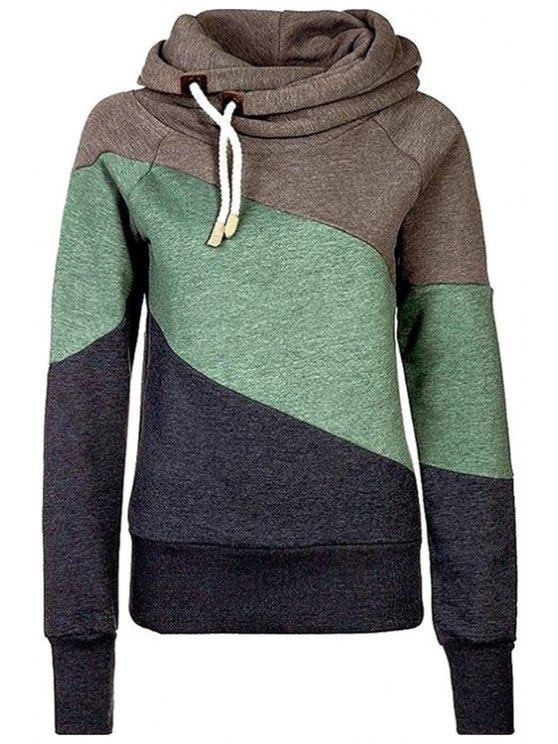 latest Color Block Hooded Neck Long Sleeves Hoodie - DARK KHAKI S
